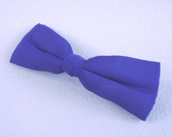 Vintage Cobalt Blue Silk Bow Tie Clip On