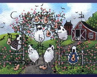 For The Birds a Tiny Spring Sheep Gourd Print by Deborah Gregg