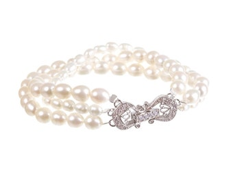 Bridal Pearl Bracelet, Wedding Bracelet , Ivory Freshwater Pearl Bracelet , Real Pearl Bracelet, Wedding Jewelry , Bridal Jewellery