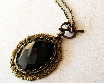 Black Glass Jewel Pendant Necklace, antique gold, vintage inspired, enchanting, medieval