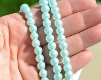 40 Light Green Glass Pearl Beads 8mm  BD219