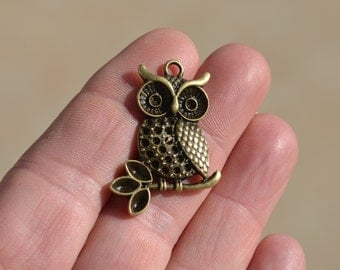 5 Antique Bronze  Owl Charms BC1486