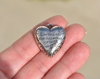 BULK 20  Love the Lord With All Your Heart Puffed Heart  Charms SC2178