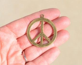 5 Antiqued Bronze Peace Sign Pendant BC2103