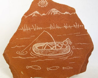 Kokopelli's Day on the River Hand Carved Rock Petroglyph