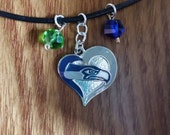 Seattle Seahawks Charm Cord Necklace Green & Blue