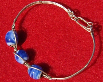Wire Wrapped Bracelet - Sterling Silver with Handmade Blue Lampwork Beads by JewelryArtistry  - P462
