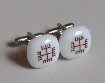Hands of God Cufflinks - Fused glass