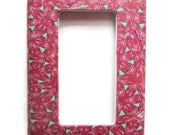 Rocker Switchplate, Single Switch Plate with Pink and Mint Green Repeated Pattern