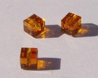 Swarovski Crystal - 6mm - CUBE - Topaz 3