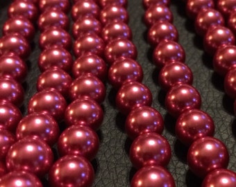 "Round Raspberry Glass Pearls - 15"" strand"