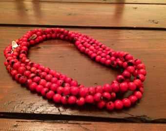 SALE! Amazing long red coral necklace made with sterling silver.