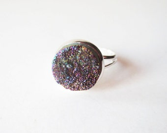 Rainbow druzy ring.  Titanium druzy ring.  Druzy jewelry.  Rainbow drusy ring.  Silver druzy ring.  Small druzy ring.  Quartz druzy ring.