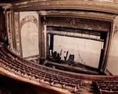 Abandoned Theater Photograph, Theatre Photography, Urban Decay Dark Moody, Stage Photograph, Urbex Wall Art, Rustic Dark Halloween Decor