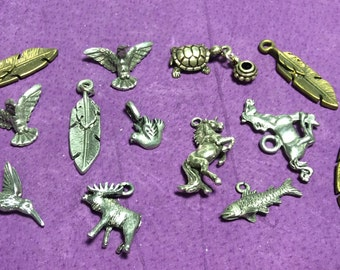 Animals, Feathers, and Birds Pewter Charms Gold and Silver