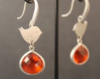 Sweet Sparrow Silver Framed Orange Glass Stones And Matte Silver Plated Bird Earrings