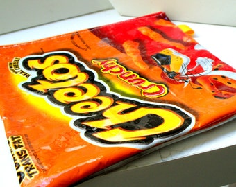 Pencil Case - UPCYCLED - Recycled CHEETOS Crunchy chip bag - Repurposed into a - Pencil Case- Make Up Bag