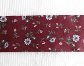 """Burgundy Color Cotton Bias Tape With Tiny Blue Flowers, 1.5"""" (4 cm) Wide Bias Tape, Cotton Fabric Bias Tape, Blanket Binding Tape, 9.5 Yards"""
