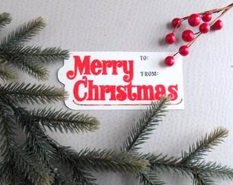 Vintage Christmas Holiday Gift Tags - Flocked Velvet - Vintage Gift Chic - Retro 80s red green velvet