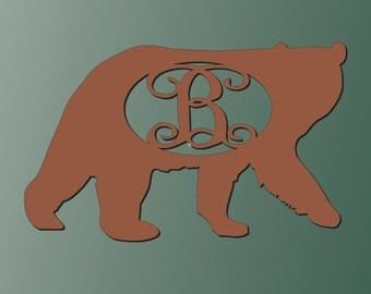 Unfinished Wood Kodiak Bear Vine Monogram 17.5  x 28 inch