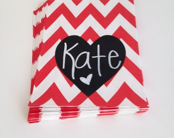 12 Chalkboard Heart Chevron Treat Bags, Valentine Favors, Wedding Favors, Heart Birthday Party