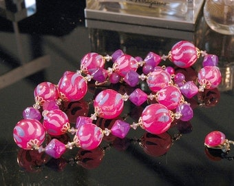 Cheap Hong Kong Plastic Necklace, FREE Matching Earrings, Nubby Painted Hot Pink Bubble Beads, Fancy Glowing Colors, Signed, Great Condition