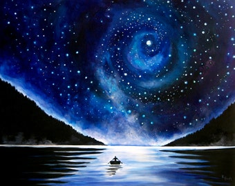 Night Sky Painting with Rowboat - Landscape Photo Print on Paper