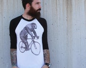Sloth on a Bike - Unisex American Apparel Raglan Baseball Tee Shirt