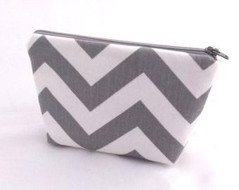 Gray Chevron Cosmetic Bag Bridesmaids Gift with grey gray chevron stripes- Size Small  Ready to Ship