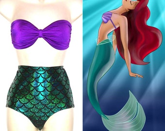 Mermaid Bathing Suit // Mermaid Ariel Strapless Swimsuit for Women MADE TO ORDER