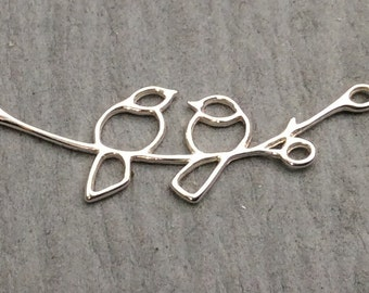 Sterling Silver Birds on a Branch Link, BAG 119