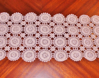 "Brand NEW Crochet LIGHT Ivory, Ecru Lace Table Runner, Rectangle Crochet Doily, Crochet Lace Doily, Ecru Doily, Ready to ship, 9.5""WX22.5""L"