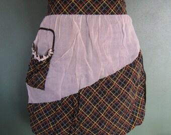 Vintage Black Plaid & Sheer Half Apron with Asymetrical Pocket - 1950's Hostess
