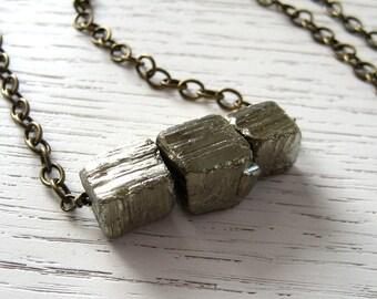 SALE - Rustic Pyrite Organic Cubes Necklace