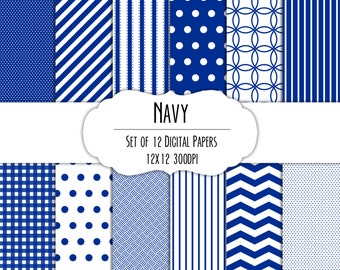 Navy Blue Digital Scrapbook Paper 12x12 Pack - Set of 12 - Polka Dot, Chevron, Stripe, Gingham - Instant Download - Item# 8221