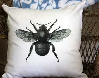 Bumble Bee Linen Pillow Cover - Different Sizes and Colors Available - Decorative Pillow Cover