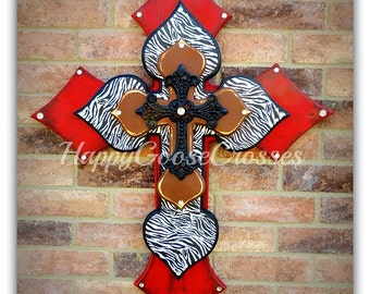 Wall CROSS - Wood Cross - X-Large - Antiqued Red, Brown, with Zebra and black iron cross