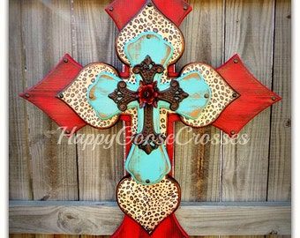 Wall CROSS - Wood Cross - X-Large - Antiqued Red & Turquoise with Leopard, iron cross, and red iron rose