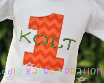 Personalized Applique Number Kids Birthday Shirt / Choose Any Fabric