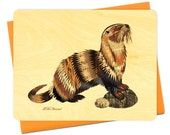 Dolan Otter Wood Notecard -  A Collaboration with Mixed Media Artist Dolan Geiman - Real Birch Wood Card - WC369