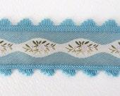 Vintage Trim Woven Jacquard Ribbon Aqua Blue Ivory Pink Flowers Leaves Scalloped Fringe Japan rib0140 (1 yard)