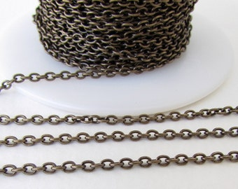 Antiqued Brass Ox Chain Cable Delicate Oval Soldered Links Beading TierraCast 3x2mm chn0159 (1 foot)