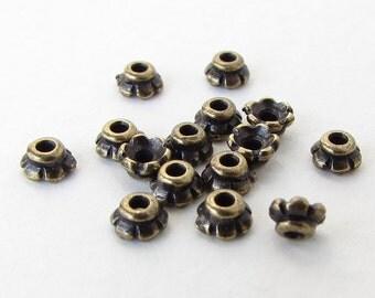 TierraCast Antiqued Brass Ox Bead Cap Tiny Scalloped Bronze 4mm bcp0064 (15)