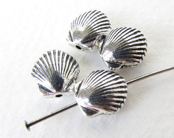 Seashell Bead Antiqued Silver Ox TierraCast Clam Shell Metal Finding 9mm cmb0052 (4)