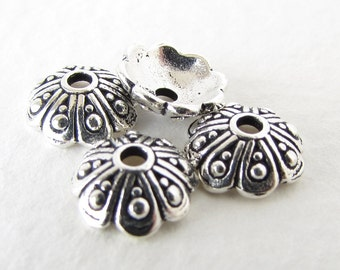 TierraCast Antiqued Silver Ox Bead Cap Bali Style Oasis Flower Dotted 8mm bcp0074 (4)