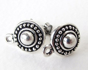 Antiqued Silver Ox Earring Post Beaded Earwires Dotted Stud TierraCast Finding erw0133 (2 pc, 1 pair)