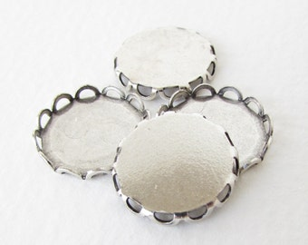Cameo Setting Antiqued Silver Ox Round Filigree Lace Edge Setting 15mm set0238 (6)