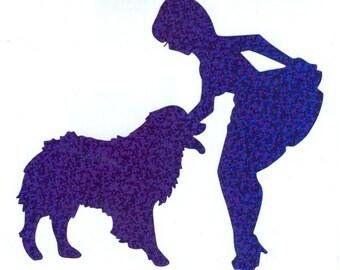 Australian Shepherd Dog and Pin Up Silhouette, Blue Glitter Vinyl Decal