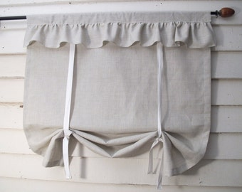36 Inch Long Glen Plaid Ruffled Stagecoach Blind Custom Made to Order Gray and White