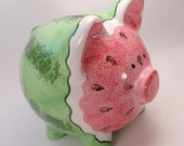 Watermelon Piggy Bank - Personalized Ceramic Piggy Bank - Unique Piggy Bank - Fun Piggy Bank - with hole or NO hole in bottom - made in USA